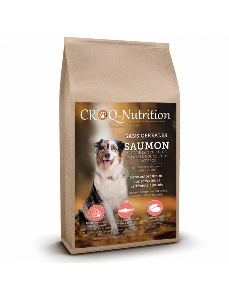 croquettes sans céréales pour chien adulte au saumon sac de 12kg