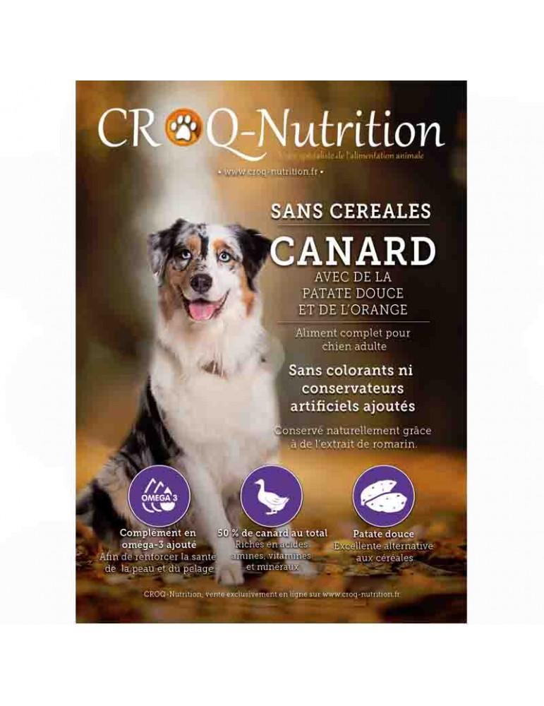 Croquettes chien sans céréales grain free 50% canard sac de 12kg