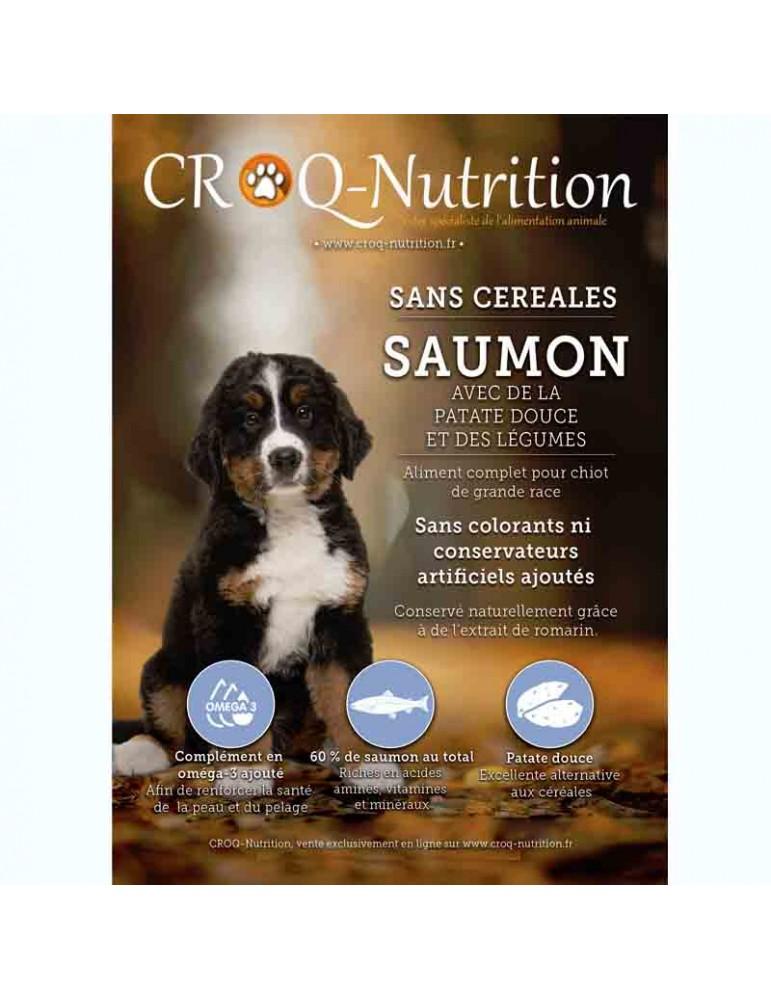 Croquettes chiot sans céréales grain free 60% saumon sac de 12kg