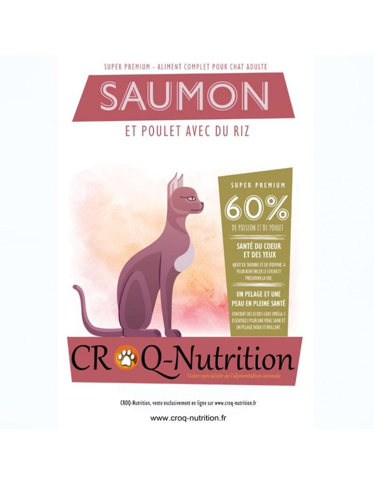Croquettes pour chat super premium 60% poulet et saumon