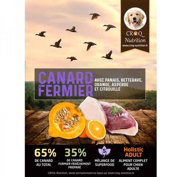 Croquettes superfood holistic pour chien adulte au canard fermier fraîchement préparé