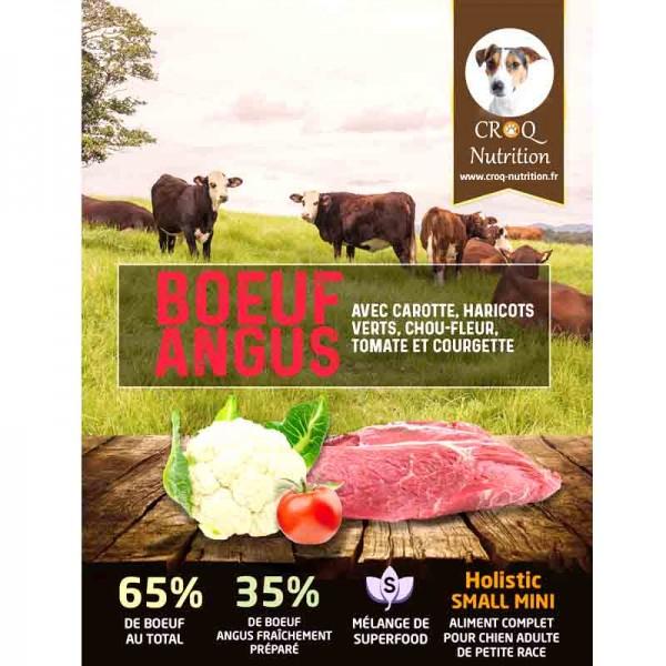 Croquettes superfood holistic pour chien adulte de petite race bœuf angus fraîchement préparé