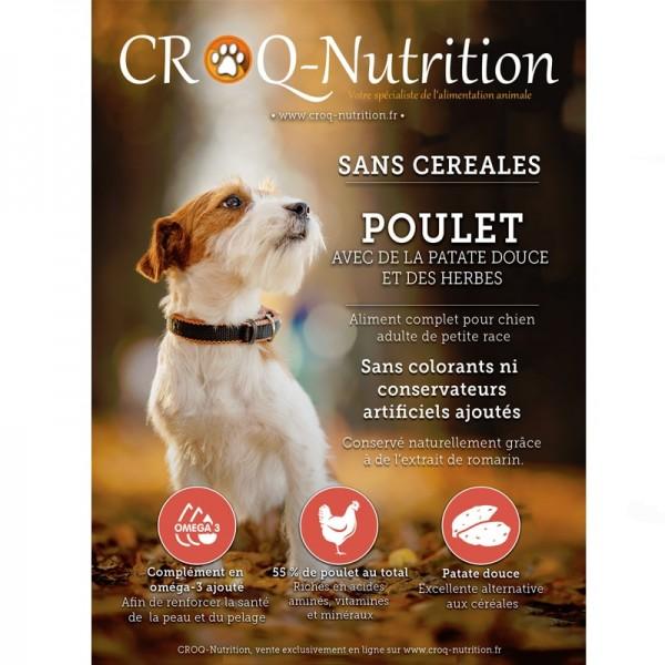 Croquettes chien petite taille sans céréales grain free 55% poulet