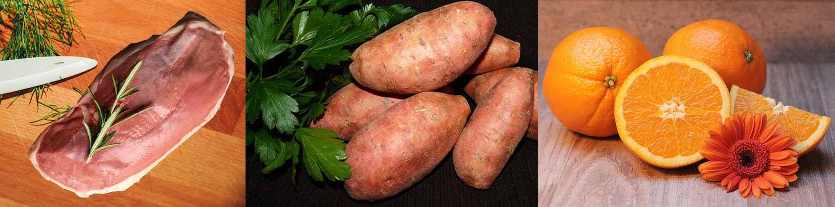 croquettes au canard, patate douce et à l'orange