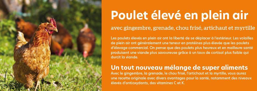 poulet élévé en plein air croquette superfood croq-nutrition