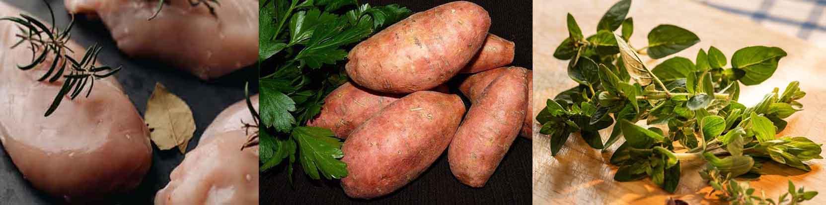 croquettes chien poulet patate douce et des herbes