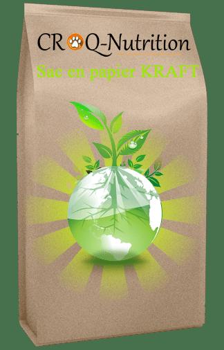 sac croquettes pour chiot sans céréales poulet saumon en papier kraft compostable